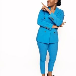 Blue women's double breasted suit